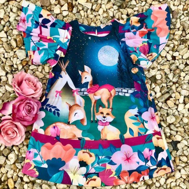 Vestido Infantil Trapézio Vale Encantado dos Animais Azul Mon Sucré