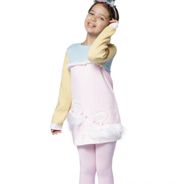 Vestido Infantil de Tricô Cisne com Pelúcia Tricolor Luluzinha
