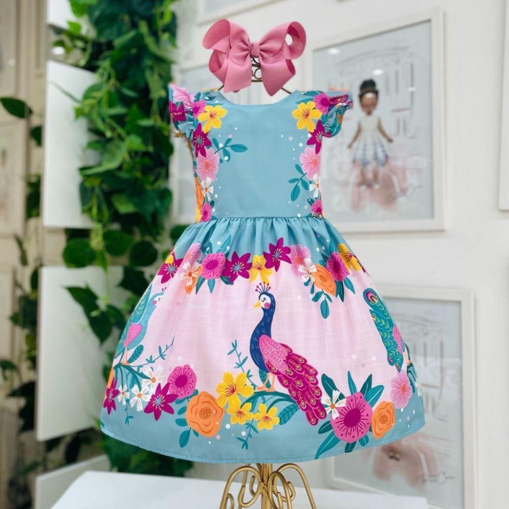 Vestido Infantil Verde e Rosa Pavão Colorido e Flores Mon Sucré