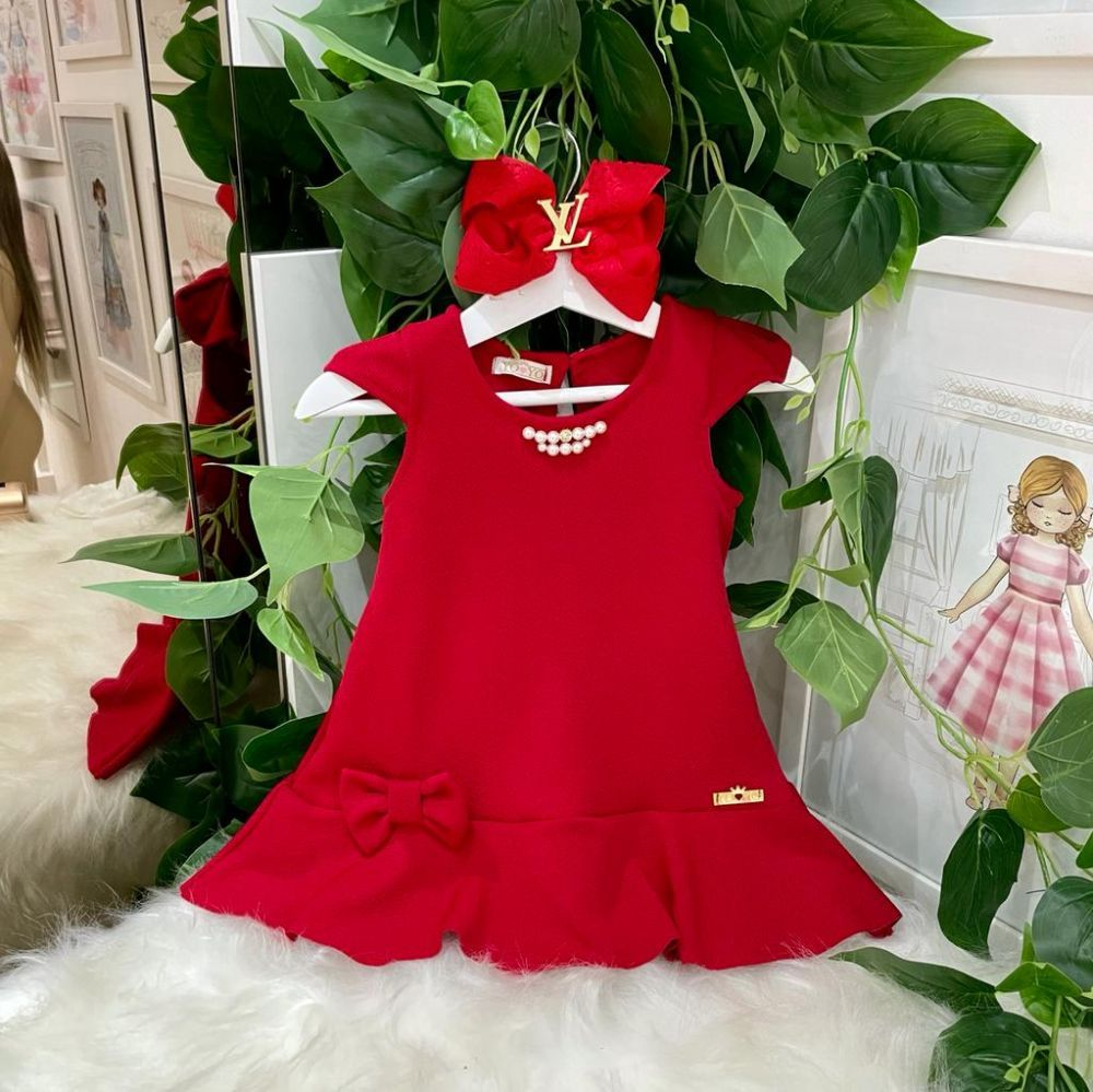 Vestido Infantil Vermelho Pérolas Yoyo