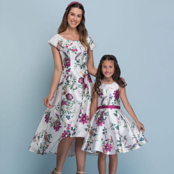 Vestido de Festa Mãe Flores e Pássaros Luxo Petit Cherie
