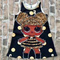 Vestido Infantil Trapezio Lol Queen Bee Preto Poa Dourado Euro Baby